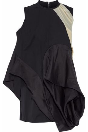 RICK OWENS Asymmetric shell-paneled mesh and jersey-trimmed cotton-poplin mini dress