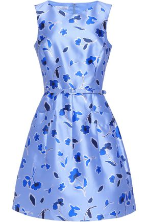 OSCAR DE LA RENTA Belted pleated printed silk and cotton-blend mini dress