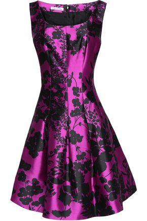 OSCAR DE LA RENTA Pleated floral-print silk and cotton-blend dress