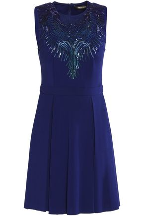 ROBERTO CAVALLI Embellished stretch-cady mini dress