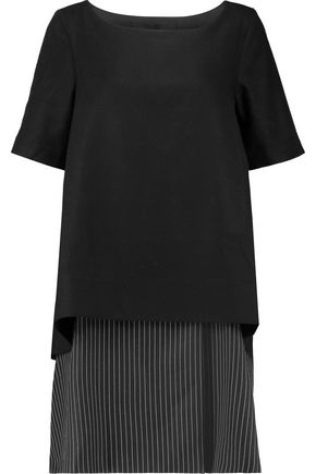PAPER London America layered felted wool-blend and striped twill mini dress