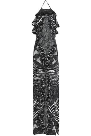 ROBERTO CAVALLI Ruffle-trimmed printed silk-chiffon gown