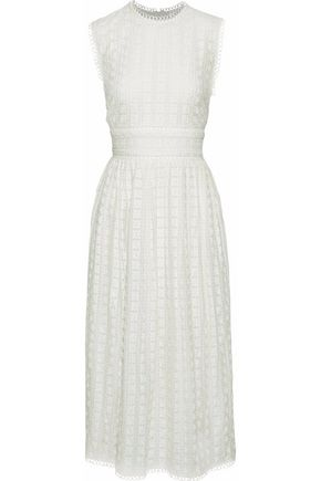 ZIMMERMANN Open knit-trimed broderie anglaise cotton and silk-blend midi dress