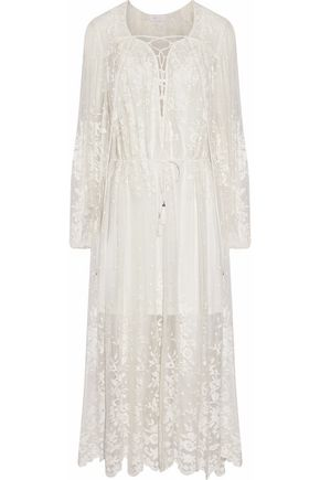 ZIMMERMANN Lace-up embroidered silk-chiffon midi dress
