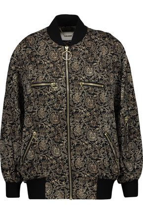 ZIMMERMANN Lavish printed silk-satin bomber jacket
