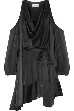 ZIMMERMANN Billow cold-shoulder washed-silk mini dress