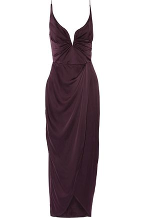 ZIMMERMANN Wrap-effect ruched washed silk-satin gown