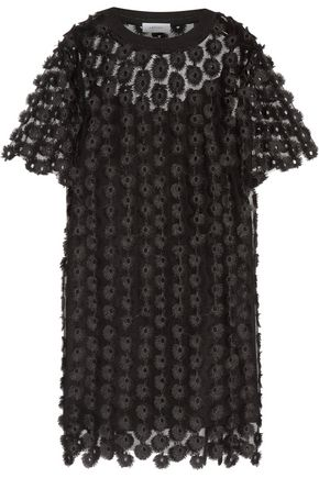 CARVEN Embroidered tulle mini dress