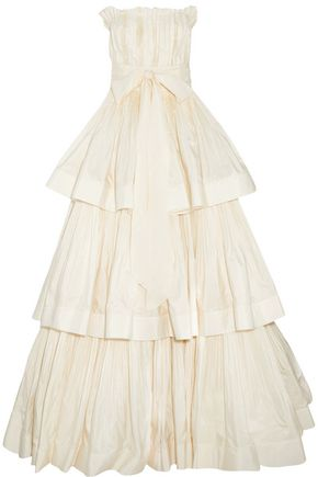 LANVIN Bow-detailed strapless pleated woven gown