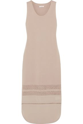 CHLOÉ Crocheted and silk crepe de chine-trimmed wool midi dress
