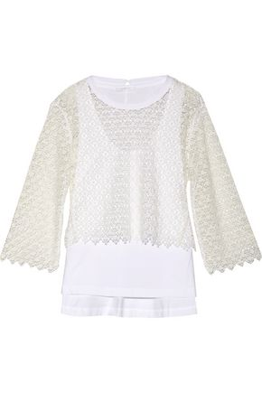 CHLOÉ Layered cotton guipure lace and cotton-blend jersey top