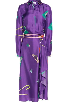 VIONNET Printed silk wrap maxi dress