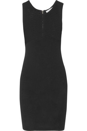 PIERRE BALMAIN Pointelle-paneled stretch-knit mini dress