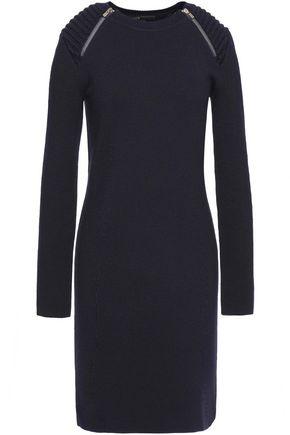 MAJE Paneled stretch-knit mini sweater dress