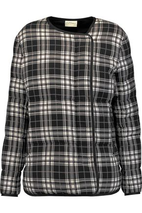 DKNY PURE Quilted checked cotton-blend jacket