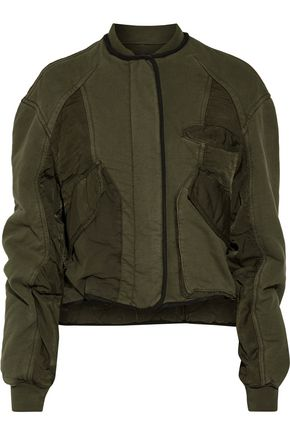 HAIDER ACKERMANN Cropped quilted cotton-blend twill and cotton-jersey bomber jacket