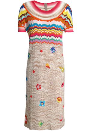 MISSONI Embellished wool-blend crochet-knit dress