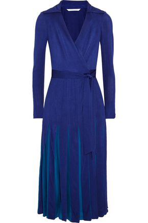 DIANE VON FURSTENBERG Wrap-effect printed pleated satin midi dress