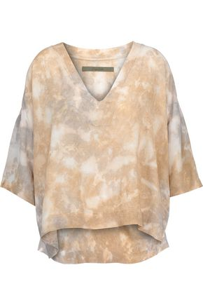 ENZA COSTA Tie-dyed cotton-crepe de chine top