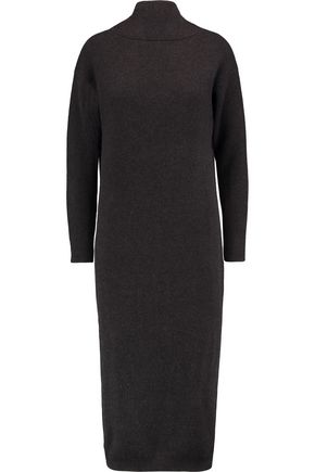 BRUNELLO CUCINELLI Draped ribbed cashmere midi dress