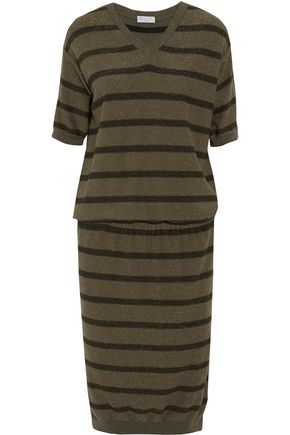 BRUNELLO CUCINELLI Striped metallic cashmere-blend dress