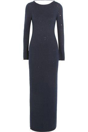 BRUNELLO CUCINELLI Sequin-embellished stretch-knit maxi dress