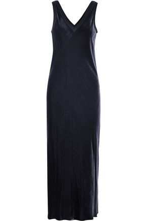 DKNY Merino wool-trimmed velvet maxi dress