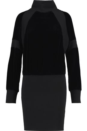 DKNY Paneled velvet and ribbed wool mini turtleneck dress
