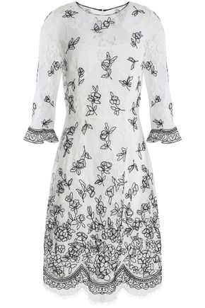 OSCAR DE LA RENTA Embroidered cotton-blend lace dress