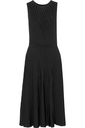 JASON WU Pleated ribbed and pointelle-knit midi dress