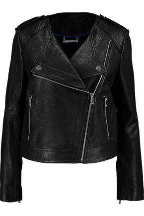 DIANE VON FURSTENBERG Tadessa textured-leather biker jacket