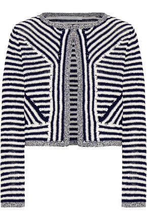 DIANE VON FURSTENBERG Metallic-trimmed two-tone cotton cardigan
