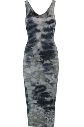 ENZA COSTA Tie-dye ribbed-knit dress