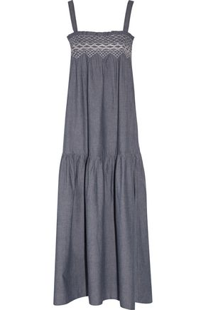 CURRENT/ELLIOTT The Rancher smocked cotton-chambray maxi dress