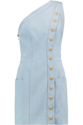 BALMAIN One-shoulder button-detailed denim mini dress