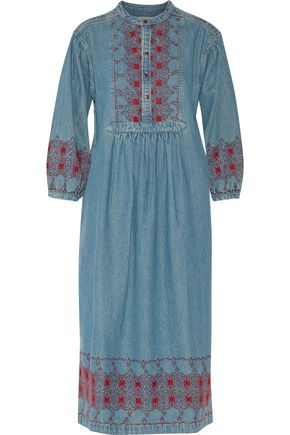 CURRENT/ELLIOTT Embroidered denim midi dress