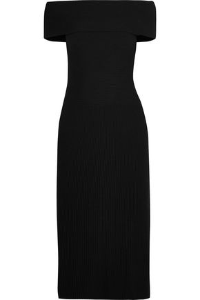 ELIZABETH AND JAMES Marbella off-the-shoulder ribbed stretch wool-blend dress
