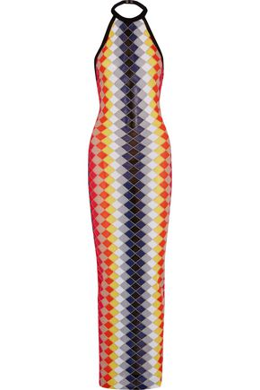 BALMAIN Metallic intarsia-knit halterneck maxi dress