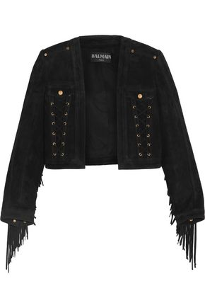 BALMAIN Cropped lace-up fringe-trimmed suede jacket