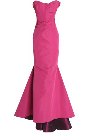 ZAC POSEN Strapless fluted pintucked silk-crepe gown