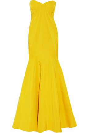 ZAC POSEN Strapless pleated silk-faille gown