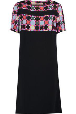 EMILIO PUCCI Printed chiffon-paneled crepe dress