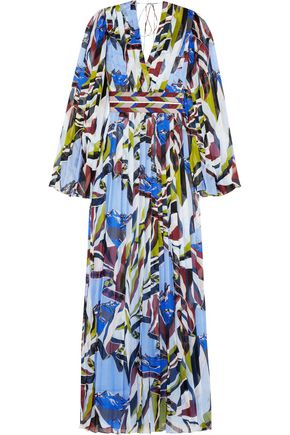 EMILIO PUCCI Sequin-embellished pleated printed silk-georgette maxi dress