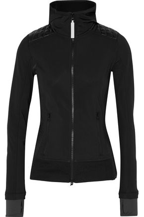 ADIDAS by STELLA McCARTNEY Quilted shell-paneled stretch-jersey hooded jacket