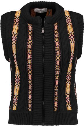 VALENTINO Embroidered wool and cashmere-blend cable-knit gilet