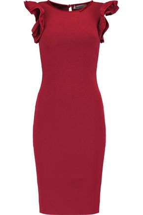 VALENTINO Velvet-trimmed stretch-knit dress