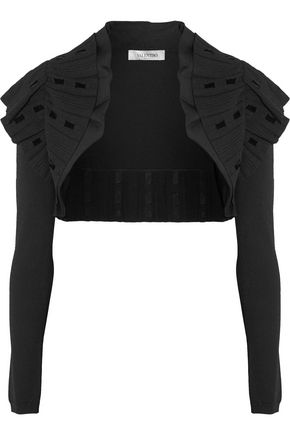 VALENTINO Cropped ribbed stretch-knit jacket