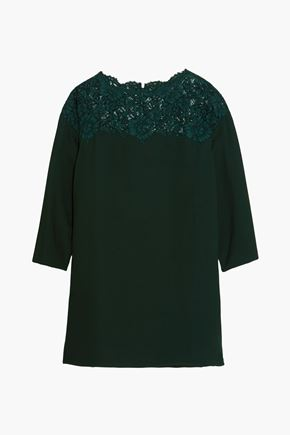 VALENTINO Lace-paneled silk-crepe mini dress