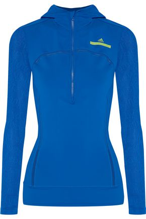ADIDAS by STELLA McCARTNEY Run mesh-trimmed hooded stretch jacket
