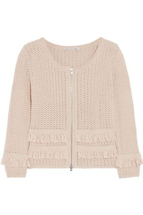 COTTON by AUTUMN CASHMERE Fringed-trimmed open-knit cotton jacket
